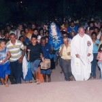 I pellegrini al Santuario di notte